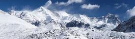 picture of mountain-range  - Panoramic image of Cho Oyu  - JPG