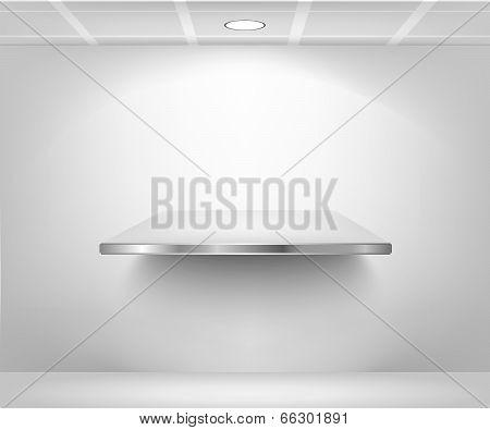 isolated Empty shelf for exhibit