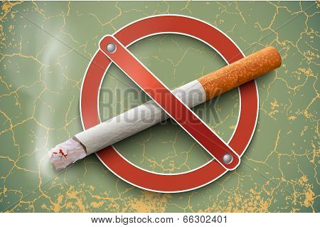 no smoking sign with a realistic cigarette