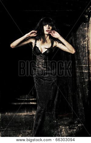 Beautiful Goth Girl Among The Dark. Grunge Texture Effect