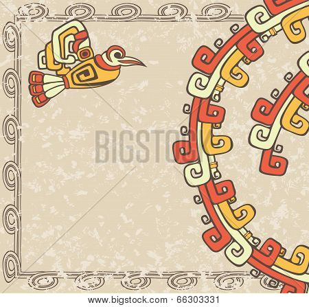 Aztec style, bird and pattern