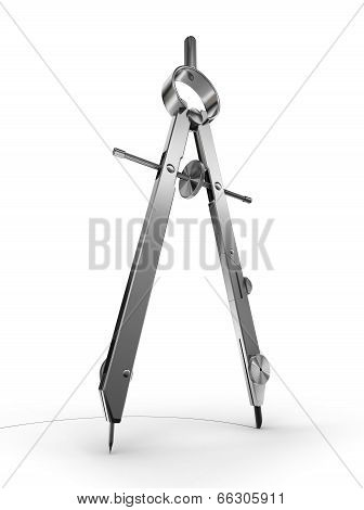 Drawing Compass On White Background