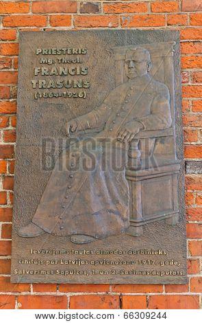 Memorial Plaque Of Priest Francis Trasuns