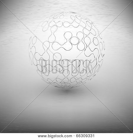 transparent abstract sphere on the gray background