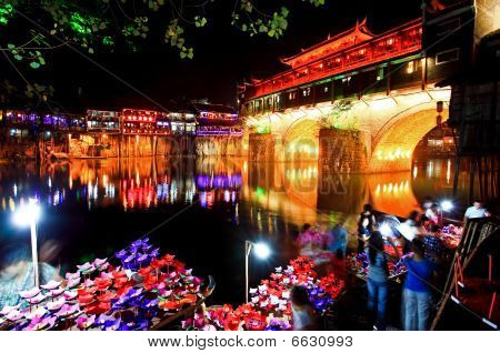 Night Scenery Of The Phoenix Town In China