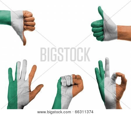 Hand Set With The Flag Of Ireland