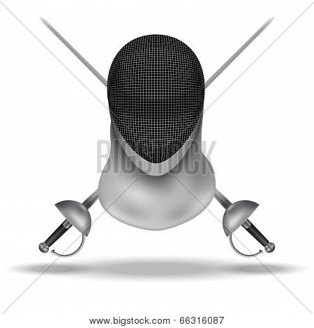 Fencing mask and epees background illustration