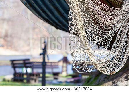 Fishing Equipment. Closeup Of White Fishnet Net Outdoor