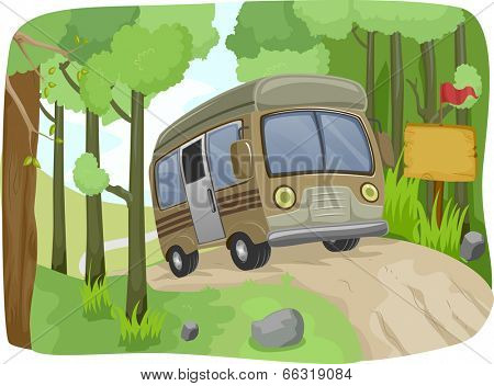 Illustration of a Bus Passing a Blank Sign on a Dirt Road