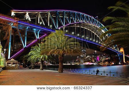 Sydney Harbour Bridge In Pink Blue And Aqua