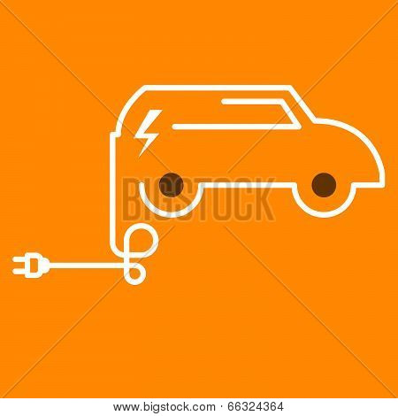 Symbolic electric car with plug