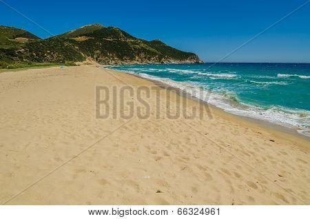 Sandy beach in Sardinia Island