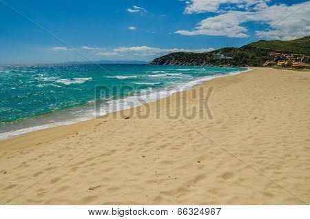 Sandy beach in Sardinia Island