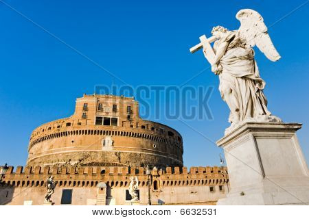 Castel Sant'angelo And Bernini's Statue On The Bridge, Rome, Italy.