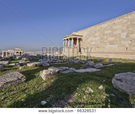 proylaea, (entrance) of Athens acropolis and erechtheion temple, Greece