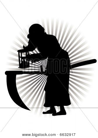 Old Father Time Silhouette Vector Cartoon