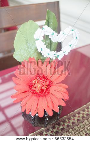 Red Gerbera Flower Decorated On Table