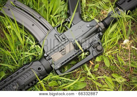 Automatic Rifle In The Grass