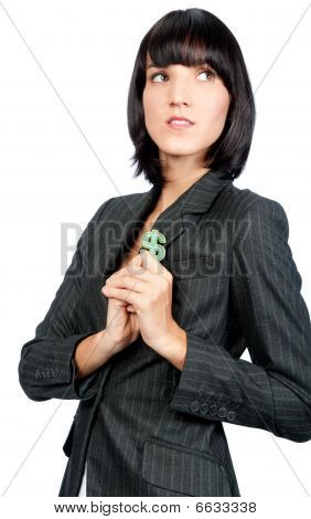 Businesswoman With Money Symbol