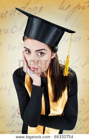 Young woman worried on her graduation day