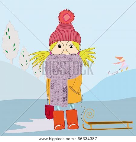 Girl In Scarf And With A Sledge