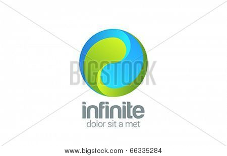 Sphere Circle looped infinity vector design logo. Corporate Business Yin Yang creative concept i