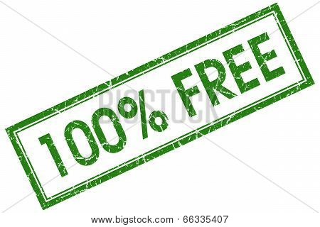 100 Percent Free Green Square Grungy Stamp Isolated On White Background