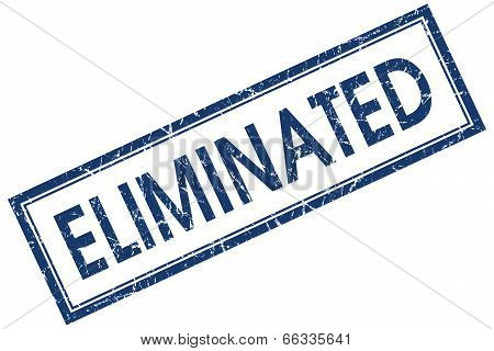 Eliminated Blue Square Grungy Stamp Isolated On White Background