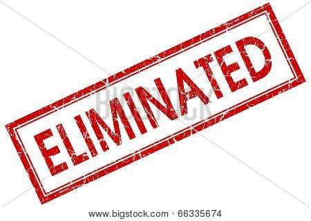 Eliminated Red Square Grungy Stamp Isolated On White Background