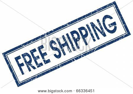 Free Shipping Blue Square Grungy Stamp Isolated On White Background