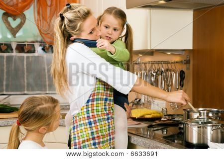Housewife and children having stress