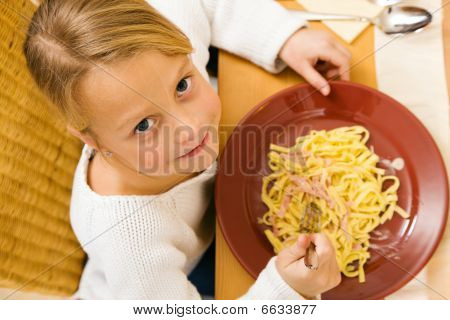 Child eating lunch or dinner