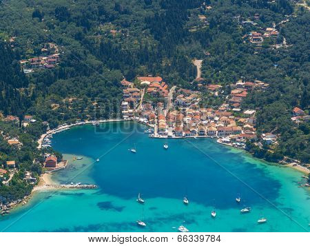 Aerial view of The bay of Paleokastritsa in Corfu Greece