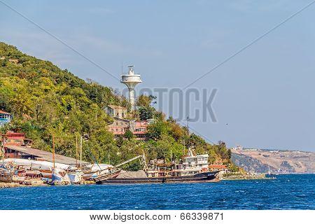 Istanbul coast in Sariyer near Black sea