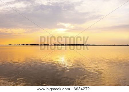 Sunset at the IJsselmeer in the Netherlands near Amsterdam