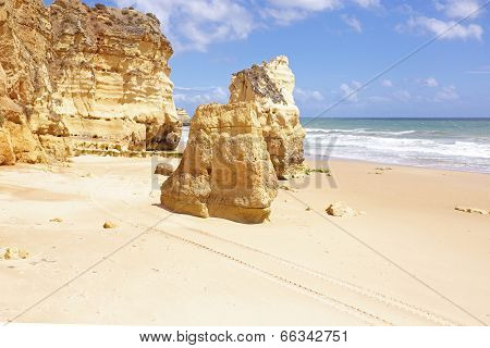 Natural rocks at Praia da Rocha in Portugal