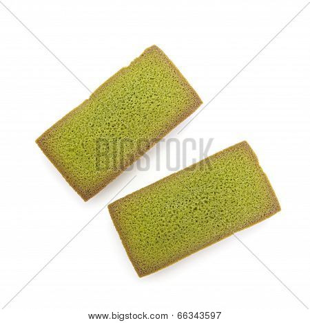 Japanese Maccha green tea financier cake on white