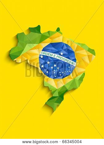 Brazil Flag Map Yellow Green Blue Background