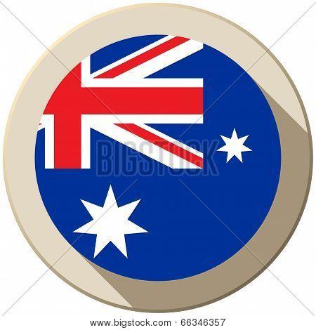 Australia Flag Button Icon Modern