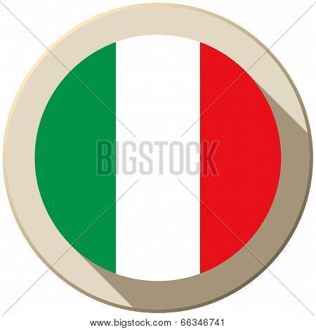 Italy Flag Button Icon Modern