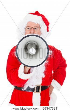 Portrait Of Santa Shouting In Megaphone