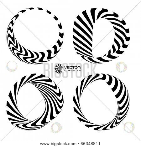 Vector illustration set of black and white 3d bracelets/rings. 3D icons.