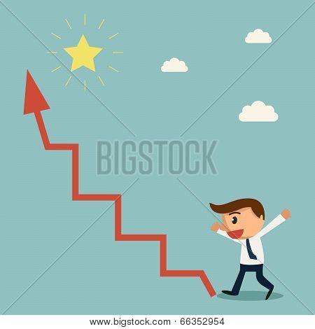 Businessman Found Arrow Graph Way To The Star. Success Concept.