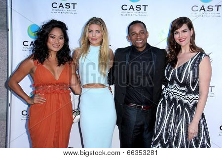 LOS ANGELES - MAY 29:  Chloe Flower, AnnaLynne McCord, Hill Harper, Sara Rue at the 16th Annual From Slavery to Freedom Gala Event at Skirball Center on May 29, 2014 in Los Angeles, CA