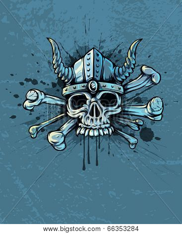 skull in helmet with horns and bones. Rasterized illustration.