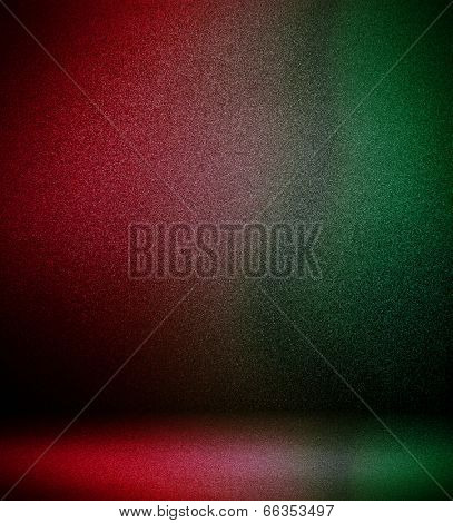 Abstract illustration background texture of light red, orange, yellow, green and blue bright color gradient wall, flat floor, sides from metal in empty spacious room interior