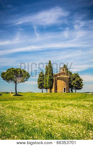 Landscape with chapel in Tuscany, Italy