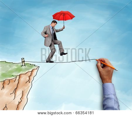 Businessman on a hand drawn tightrope and cliff holding red umbrella concept for business risk, challenge and assistance