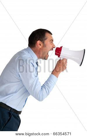 Businessman Shouting Megaphone Isolated