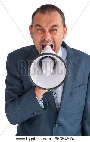 Businessman Shoutig Through A Loudhailer